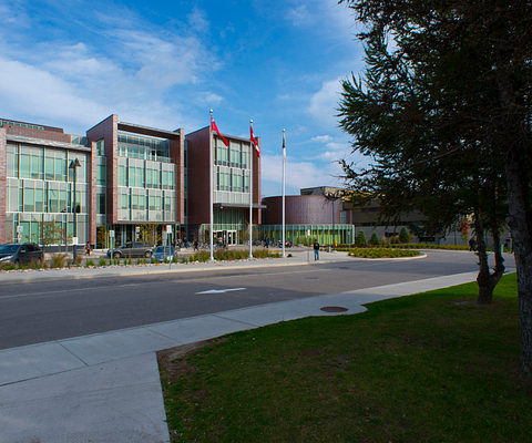 Picture of Led young College Progress Campus entrance in summer